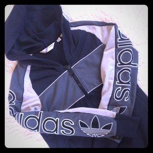 Black gray adidas trefoil hoodie small